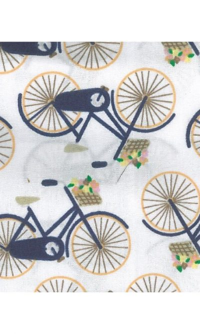 Bicycle with Flower Basket Bikes Soft Touch Printed 100% Cotton