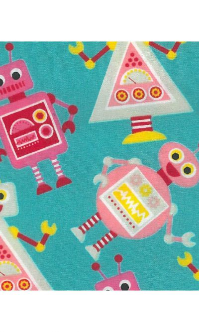 Kids Robots Robotic Soft Touch Printed 100% Cotton