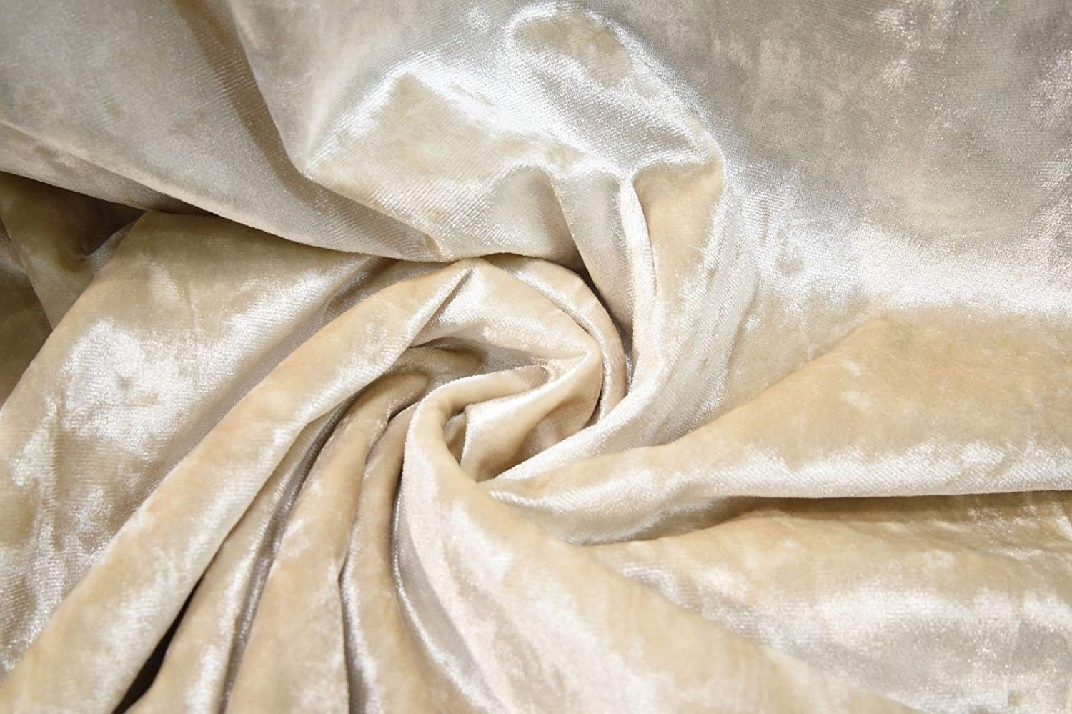 CREAM CRUSHED VELVET FABRIC BY THE METRE