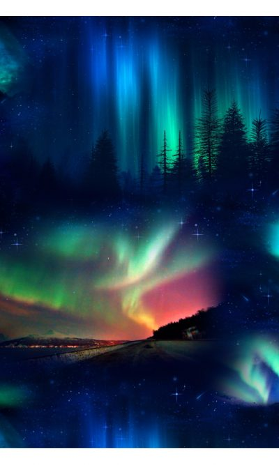 aurora borealis black in space