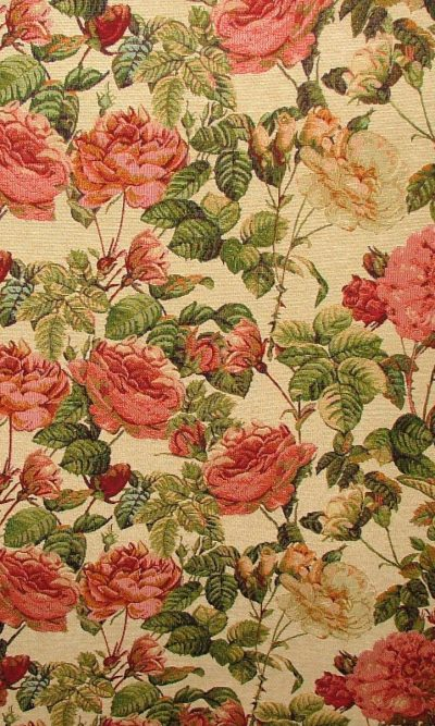 Designer Heavyweight Woven rose Tapestry Fabric