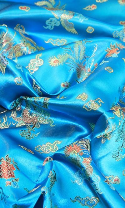turquoise-blue-print-chinese-brocade-fabric