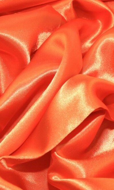 Orange Silky Satin Fabric Dress Making Material Lining 150cm/60""