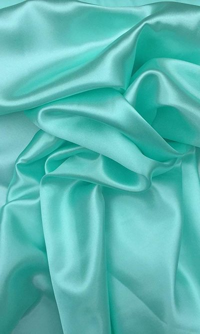 "Pastel Mint Green Silky Satin Fabric Dress Making Material Lining 150cm/60"""