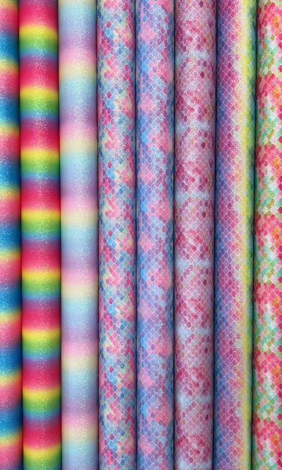 Rainbow Glitter Fabric With Cotton Backing Multicoloured Mermaid Fish Scales & Candy Strips