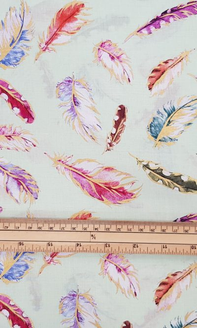 Mint Gilded Feathers