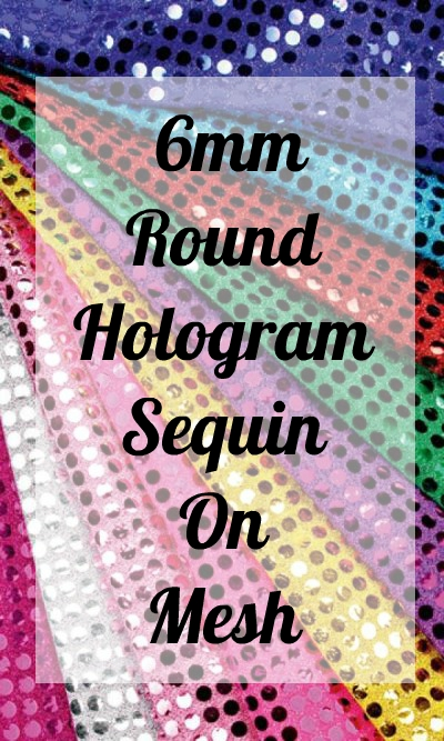 6mm Round Hologram Sequin On Mesh