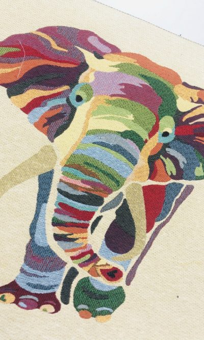 Elephant-woven-tapestry-square-panel